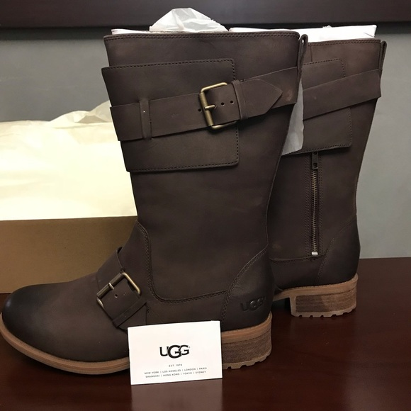 9f784cd8590 Ugg Chancey Leather Boots Size 11 Color Stout NWT